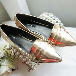 Forever21 rosegold flat loafers